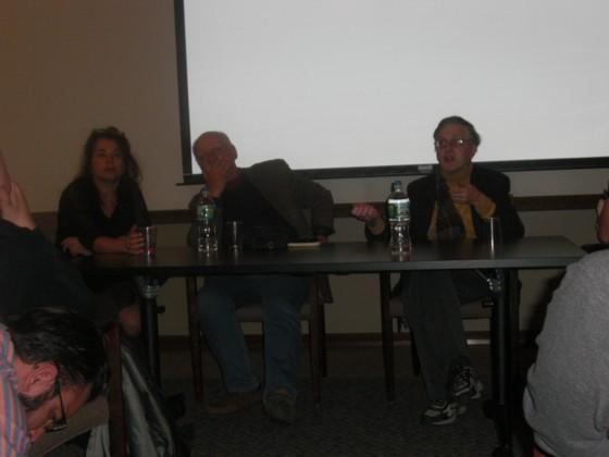 Ann Nocenti (tv), Chris Claremont (midt) og Peter Sanderson svarer på spørgsmål.