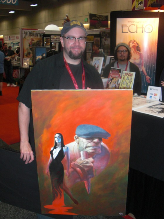 Eric Powell med et imponerende maleri af sin mest kendte figur The Goon.