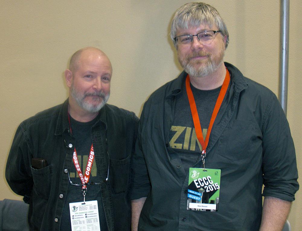 Mike Mignola (tv) og hans farvelægger på alle hans serier Dave Stewart.