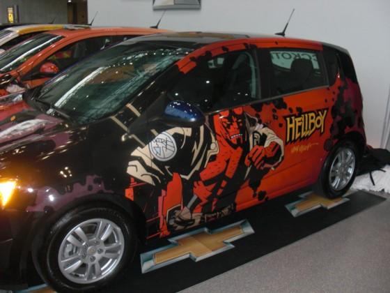 For at reklamerer for New York messen i dagene op til messe start, havde man fået 4 biler malet med diverse tegneserier. Hellboy bilen var helt klart den mest cool.